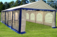 PE Party Tent 32'x16' - Heavy Duty Wedding Canopy - Blue White