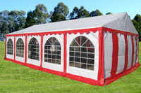 PE Party Tent 32'x16' - Heavy Duty Wedding Canopy - Red White