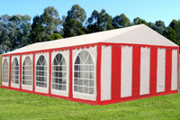 PE Party Tent 40'x20' - Heavy Duty Wedding Canopy - Red White