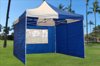 Blue White 10'x10' Pop up Tent with 4 Sidewalls - E Model