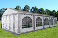 PE Party Tent 32'x16' Grey White - Heavy Duty Wedding Canopy