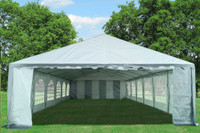 PE Party Tent 40'x20' - Heavy Duty Wedding Canopy - Grey White