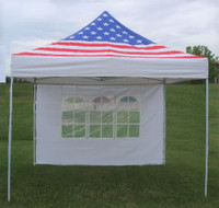 American Flag 10'x10' Pop up Tent with 4 Sidewalls - F Model Upgraded  Frame