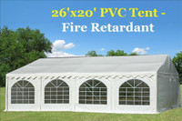 26'x20' PVC Party Tent (FR) Wedding Canopy Shelter -  Fire Retardant - White