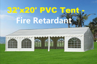 32'x20' PVC Party Tent (FR) Wedding Canopy Shelter -  Fire Retardant - White