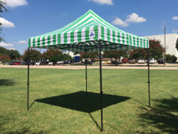 10'x10' D Model Green Stripe - Pop Up Canopy Tent EZ  Instant Shelter w Wheel Bag + Sand Bags