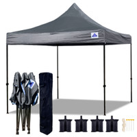 10'x10' D Model Grey - Pop Up Canopy Tent EZ  Instant Shelter w Wheel Bag + Sand Bags