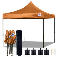 10'x10' D Model Burnt Orange - Pop Up Canopy Tent EZ  Instant Shelter w Wheel Bag + Sand Bags