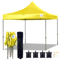 10'x10' D Model Yellow - Pop Up Canopy Tent EZ  Instant Shelter w Wheel Bag + Sand Bags