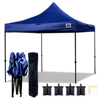 10'x10' D Model Navy Blue - Pop Up Canopy Tent EZ  Instant Shelter w Wheel Bag + Sand Bags