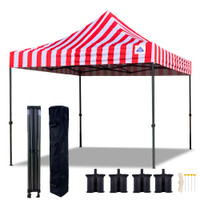 10'x10' D Model Red Stripe - Pop Up Canopy Tent EZ  Instant Shelter w Wheel Bag + Sand Bags