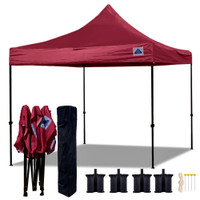 10'x10' D Model Maroon - Pop Up Canopy Tent EZ  Instant Shelter w Wheel Bag + Sand Bags