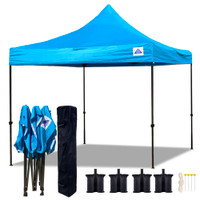 10'x10' D Model Turquoise - Pop Up Canopy Tent EZ  Instant Shelter w Wheel Bag + Sand Bags
