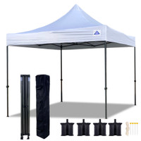 10'x10' D Model White - Pop Up Canopy Tent EZ  Instant Shelter w Wheel Bag + Sand Bags