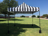 10'x10' D Model Black Stripe - Pop Up Canopy Tent EZ  Instant Shelter w Wheel Bag + Sand Bags