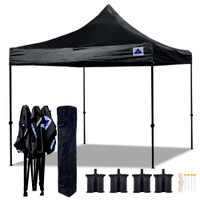 10'x10' D Model Black - Pop Up Canopy Tent EZ  Instant Shelter w Wheel Bag + Sand Bags