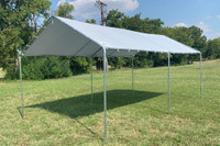 PE Canopy Shade Shelter - Carport 20'x10' Light Grey