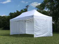 White 10'x20' Pop up Tent with 6 Solid Walls - F/S Model Upgraded Frame