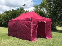 Maroon 10'x20' Pop up Tent with 6 Solid Walls - F/S Model Upgraded Frame