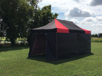 Black Red 10'x20' Pop up Tent with 6 Solid Walls - F/S Model Upgraded Frame