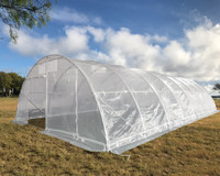 Large Walk-in Nursery Greenhouse - 40'x20' Clear with Round Arch