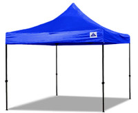 10'x10' D/S Model Blue - Pop Up Canopy Tent EZ  Instant Shelter w Wheel Bag + Sand Bags + 4 Walls
