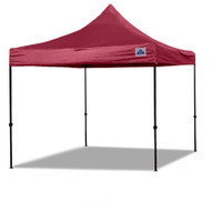 10'x10' D/S Model Maroon - Pop Up Canopy Tent EZ  Instant Shelter w Wheel Bag + Sand Bags + 4 Walls