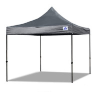 10'x10' D/S Model Grey - Pop Up Canopy Tent EZ  Instant Shelter w Wheel Bag + Sand Bags + 4 Walls