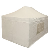 10'x15' D/W Model White - Pop Up Canopy Tent EZ Instant Shelter w Wheel Bag + 4 Sand Bags + 2 Window Walls + 2 Zipper End Walls