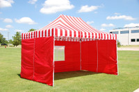 Red Stripe 10'x15' Pop up Tent with 4 Sidewalls - F Model Upgraded Model