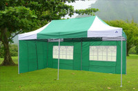 Green White 10'x20' Pop up Tent with 6 Sidewalls - F Model Upgraded Frame