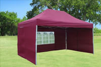 Maroon 10'x15' Pop up Tent with 4 Sidewalls - F Model Upgraded Frame