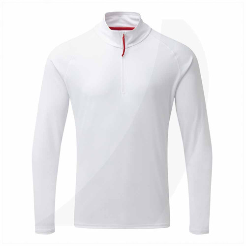 Gill Men's UV Tec Long Sleeve Zip Tee White UV009 Front