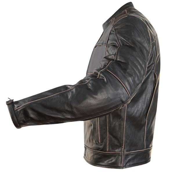 Armored Brown Charcoal Mens Distressed Buffalo Leather Motorcycle