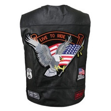 Men's American Pride with Most Popular Patches Biker Leather Vest CLOSEOUT