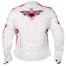 Reflective Tribal Heart White & Pink Armored Xelement Womens Motorcycle Jacket