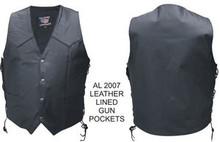 Mens Soft Premium Buffalo leather Gun Pocket Biker holster Vest