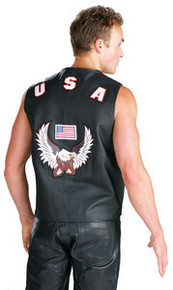Mens USA American Eagle  Leather Vest