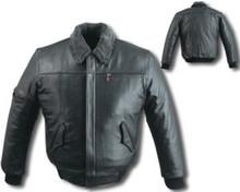Mens Leather Bomber Black (Heavy) Jacket