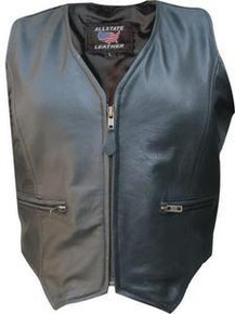 WOMEN'S BLACK ZIP LAMBSKIN SOFT LEATHER MOTORCYCLE VEST