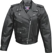 Ladies Solid Black Leather Motorcycle biker Jacket