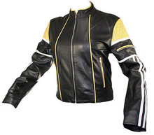 LAMBSKIN BLACK & YELLOW LADIES LEATHER MOTORCYCLE STYLE JACKET CLOSEOUT L