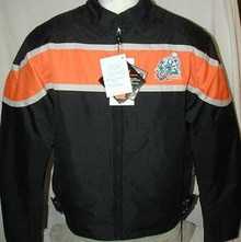 Mens Textile Insulated Lightweight Armored Motorcycle Biker Jacket Black & Orange New CLOSEOUT