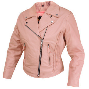 2019 authentic top design durable service Dusty Rose Pink Braided Leather Motorcycle Biker Jacket Womens CLOSEOUT  PRICED