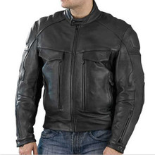 Bandit Style NAKED Cowhide BLACK Leather Cruiser Motorcycle Jacket CLOSEOUT