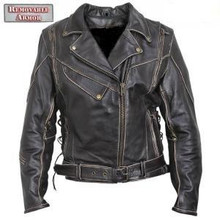 Antique Brown Rub-Off Leather Armored Motorcycle Jacket Womens
