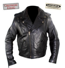A Black Premium Impact Resistant Armored & Vented Naked Leather Motorcycle Jacket  MEDIUM CLOSEOUT