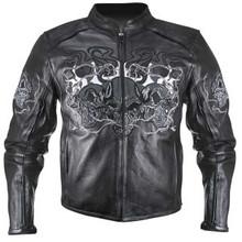 3 Flaming Skulls Reflective Motorcycle Biker Jacket
