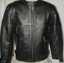 1A Black Premium Mens Naked Leather Cruiser Vented Motorcycle biker Jacket