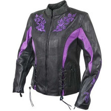 Black 2027 Xelement Womens  Leather Embroidered Motorcycle Biker Jacket